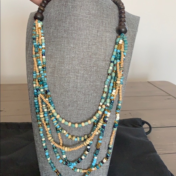 Anthropologie Wood Beaded Necklace